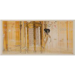 Cleopatra large-scale original concept painting of Elizabeth Taylor from Cleopatra
