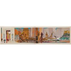 Cleopatra large-scale original concept painting (2 boards) Egyptian galley in harbor by John DeCuir
