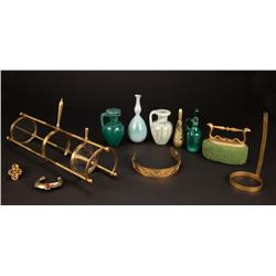 Collection of small amphorae, jewelry, and elaborate primitive telescope from Cleopatra