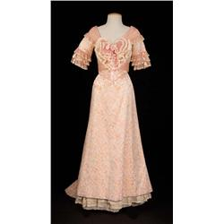 """Hermione Baddeley """"Buttercup Grogan"""" peach silk floral gown from The Unsinkable Molly Brown"""