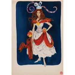 Theadora Van Runkle costume design sketch of Samantha Eggar from Doctor Dolittle