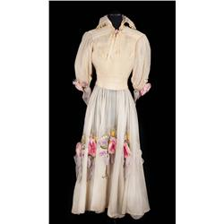 Samantha Eggar off-white see-through taffeta dress with flowers and petticoat from Doctor Dolittle