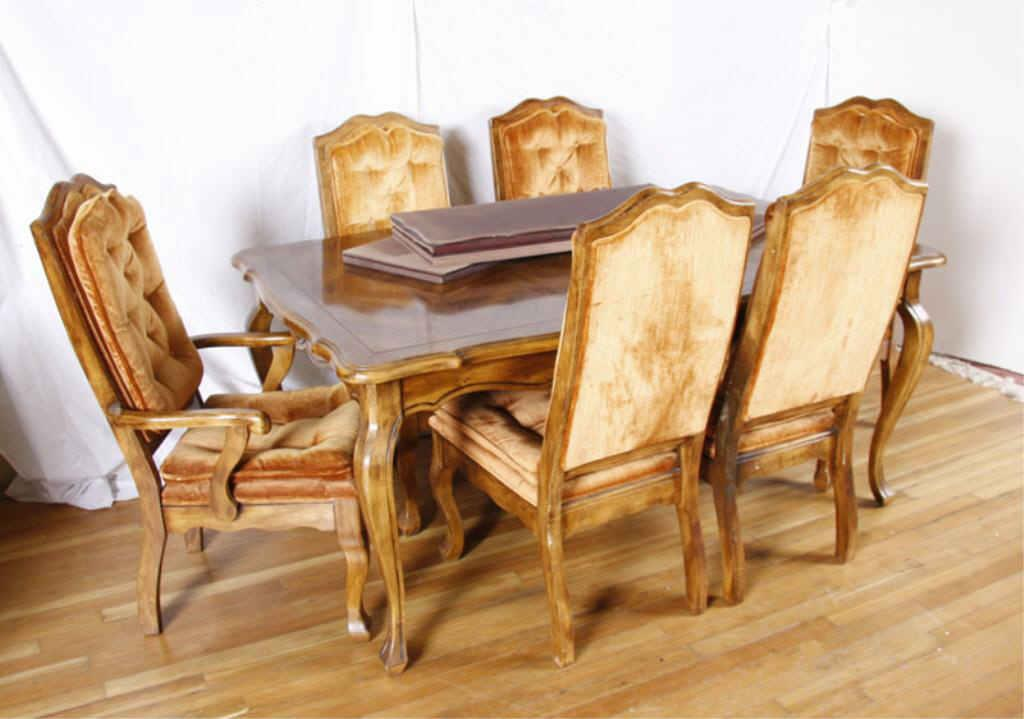Image 1 Dining Room Table Six Chairs French Provincial Pecan Five Side