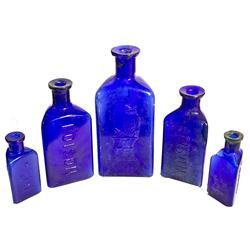 Owl Poison Cobalt Bottles