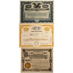 AK - 1907, 1922, 1975 - Alaska Gold Mining Stock Certificates - Fenske Collection