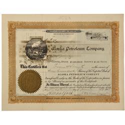 AK - June 29 1898 - Alaska Petroleum Company Stock Certificate