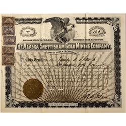 AK - Snettisham,June 5, 1900 - Alaska-Snettisham Gold Mining Company Stock Certifcate