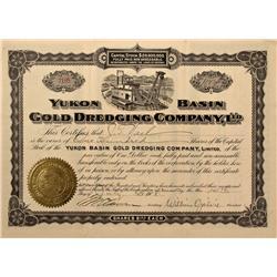AK - Yukon Territory,1908 - Yukon Basin Gold Dredging Company, Ltd., Stock Certificate *Territorial*