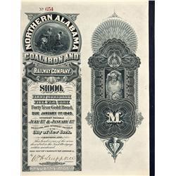 AL - 1900 - Northern Alabama Coal, Iron and Railway Stock Certificate - Fenske Collection