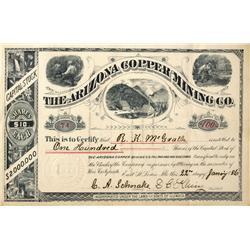 AZ - 1886 - Arizona Copper Mining Co. Stock Certificate