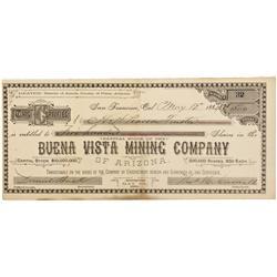 AZ - Amole,Pima County - 1884 - Buena Vista Mining Company Stock Certificate
