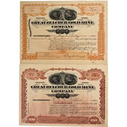AZ - Big Bug,Yavapai County - 1901, 1900 - Great Belcher Gold Mining Company Stock Certificate