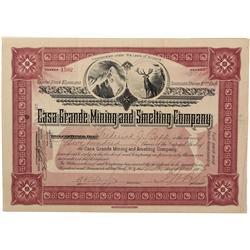 AZ - Casa Grande,Pinal County - 1903 - Casa Grande Mining and Smelting Company Stock Certificate *Te