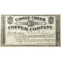 AZ - Castle Creek,Yavapai County - Oct. 3, 1882 - Castle Creek Copper Co. Stock Certificate