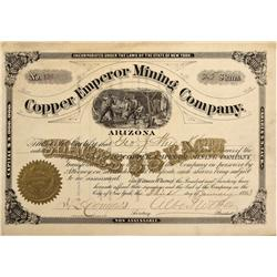 AZ - Mineral Hill District,Pima County - January 3, 1883 - Copper Emperial Mining Company Stock Cert