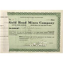 AZ - Mohave County,1911 - Gold Road Mines Company Stock Certificate - Fenske Collection
