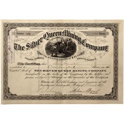 AZ - Pinal County,1884 - Silver Queen Mining Company Stock  Certificate*Territorial* - Fenske Collec