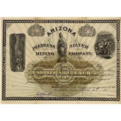 AZ - Quijotoa,Pima County - April 16, 1883 - Arizona Peerless Silver Mining Company Stock Certificat
