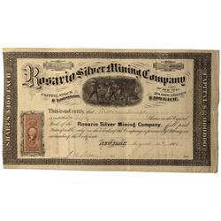 AZ - Santa Cruz,August 12, 1868 - Rosario Silver Mining Company, Stock