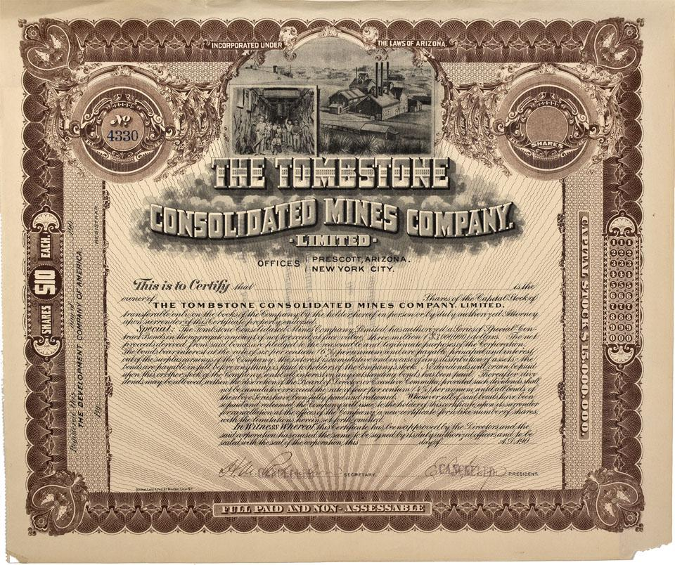 AZ - Tombstone,Cochise County - c1900 - Tombstone Consolidated Mines  Company Stock Certificate