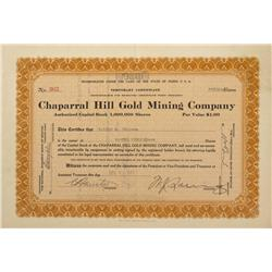 AZ - Yavapai County,1922 - Chaparral Hill Gold Mining Company Stock Certificate - Fenske Collection