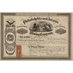 AZ - Yuma,November 15, 1867 - Philadelphia and Arizona Mining Company Stock Certificate *Territorial