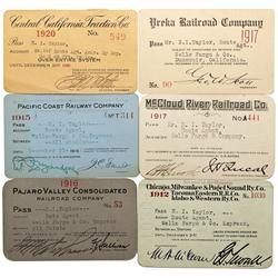 CA - 1912, 1915, 1916, 1917, 1920 - California Railroad Passes