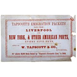 CA - 1853 - Tapscott's Emigration Packets Postal  Gold Rush Era Broadside