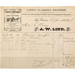CA - Alameda,April 30, 1878 - Lind's Alameda Express Billhead - Mueller Collection