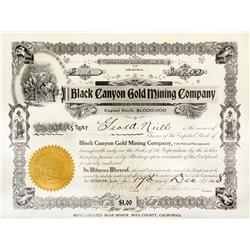 CA - Bishop,Inyo County - 1908 - Black Canyon Gold Mining Co. Stock Certificate