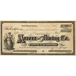 CA - Bodie,Mono County - 1878 - Aurora Tunnel and Mining Company Stock