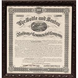 CA - Bodie,Mono County - 1886 - Bodie and Benton Railway and Commercial Company Bond, Framed