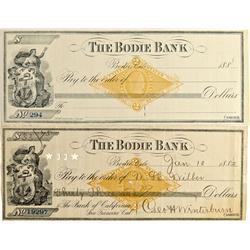 CA - Bodie,Mono County - 1882 - Bodie Bank Checks