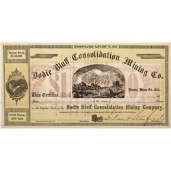 CA - Bodie,Mono County - 1863 - Bodie Bluff Consolidation Mining Co. Stock Certificate