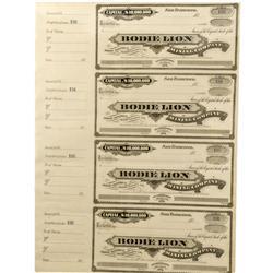 CA - Bodie,Mono County - c187_ - Bodie Lion Mining Company Stock Certificates