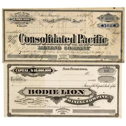 CA - Bodie,Mono County - Bodie Mining District Stock Certificates