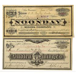 CA - Bodie,Mono County - 1881-1886 - Bodie Mining Stock Certificates - Clint Maish Collection