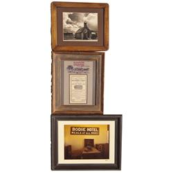 CA - Bodie,Mono County - 1879, 1972 - Bodie Photographs and Stagecoach Advertisement, Framed