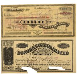 CA - Bodie,Mono County - 1879-1880 - Bodie Stock Certificates - Clint Maish Collection