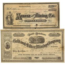 CA - Bodie,Mono County - 1879 - Bodie Stock Certificates - Clint Maish Collection