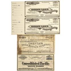 CA - Bodie,Mono County - 1878-1879 - Bodie Stock Certificates - Clint Maish Collection