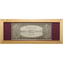 CA - Bodie,Mono County - c1880 - Bodie Teaching Currency, Framed