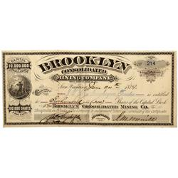CA - Bodie,Mono County - June 24th 1879 - Brooklyn Consolidated Mining Company Stock Certificate