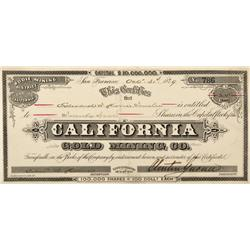 CA - Bodie,Mono County - 1879 - California Gold Mining Co. Stock Certificate