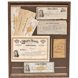 CA - Bodie,Mono County - 1878, 1879, 1880 - Collage of Bodie Bank Documents, Framed