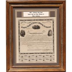 CA - Bodie,Mono County - 1864 - Empire Gold & Silver Mining Company Bond, Framed