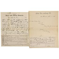 CA - Bodie,Mono County - 1887-1888 - Gold Mining Company Letters and Assessment Receipts