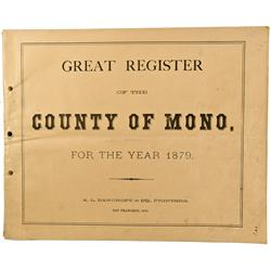 CA - Bodie,Mono County - 1879 - Great Register of the County Of Mono