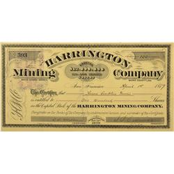 CA - Bodie,Mono County - 1879 - Harrington Mining Company Stock Certificate - Clint Maish Collection