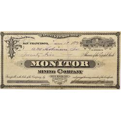 CA - Bodie,Mono County - 1879 - Monitor Mining Company Stock Certificate - Clint Maish Collection